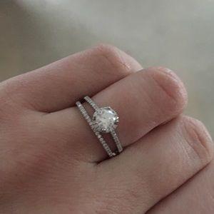 Platinum Halo Style Bridal Ring Set